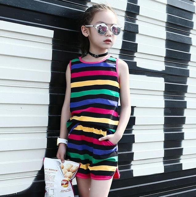 Sleeveless Striped Vests & Shorts Summer Kids girls Outfits - bump, baby and beyond