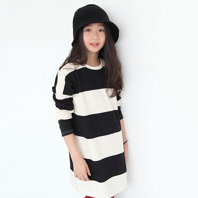 Long Sleeve Striped Black/White Teenage Girls Dress - bump, baby and beyond