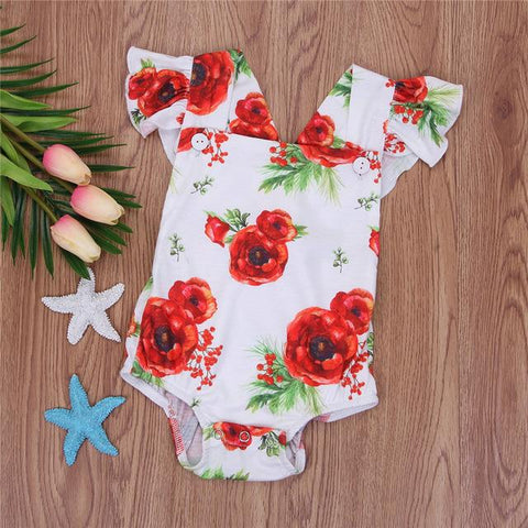 Baby Girls Romper Flower Headband Backless Jumpsuit - bump, baby and beyond
