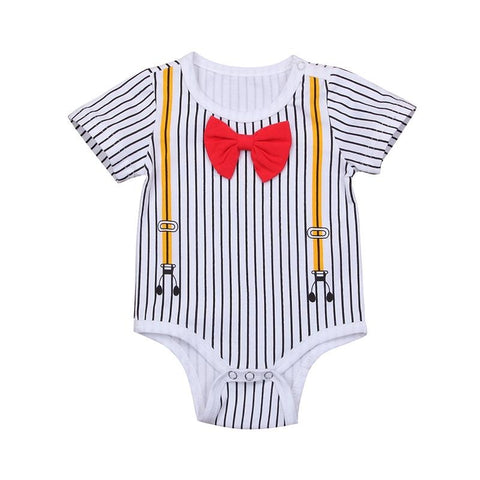 summer baby boy short sleeve striped bowtie romper clothes - bump, baby and beyond