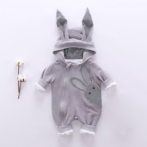 new baby unisex rabbit hooded jumpsuit clothes - bump, baby and beyond