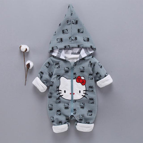 Long Sleeved Romper Baby Girl Kitty Cat Outerwear Clothes - bump, baby and beyond
