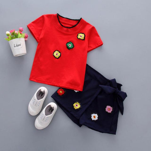 summer girls flower tops + shorts tracksuit clothes - bump, baby and beyond