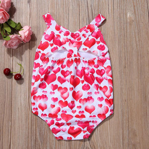 Baby Girl Red Heart Romper Jumpsuit Clothes - bump, baby and beyond