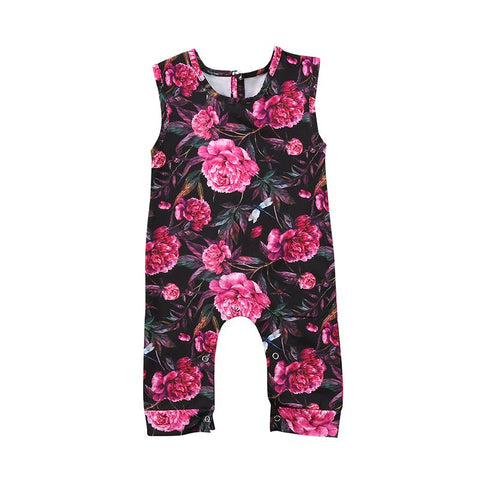 baby girl floral flower romper sleeveless jumpsuit clothes - bump, baby and beyond