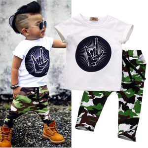 Toddler Baby Kids Boys Tops T-shirt Pants Army Green Outfits - bump, baby and beyond