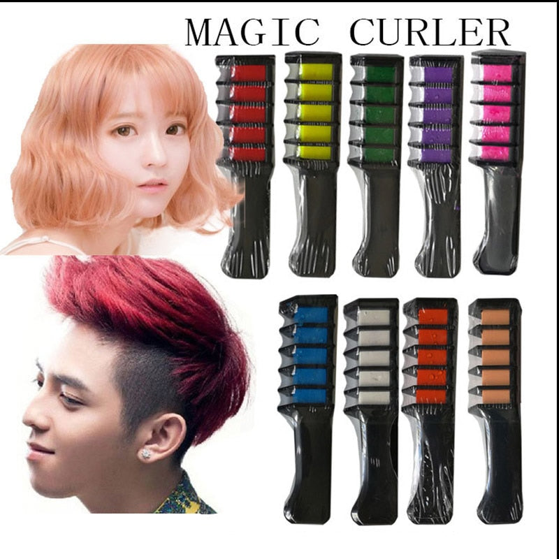 Temporary Hair Chalk Comb-Non Toxic Washable Hair Color Comb for Hair  Dye-Safe for Kids for Party Cosplay DIY