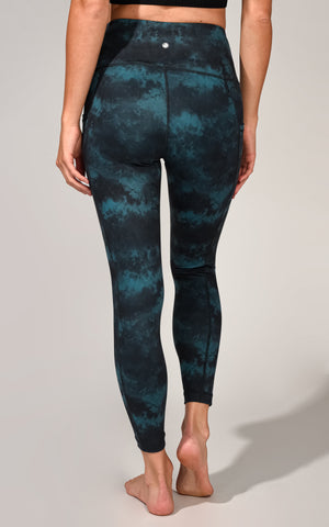 """Lux"" High Waist Tie Dye Marble Print 7/8 Ankle Legging With Side Pockets"
