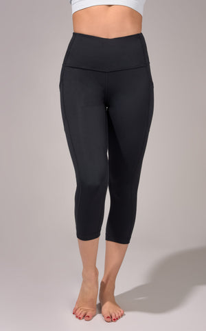 """Lux"" High Waist Side Pocket Capri with Curved Yoke"