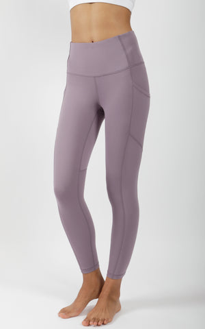 """Lux"" High Waist Side Pocket 7/8 Ankle Legging with Curved Yoke"