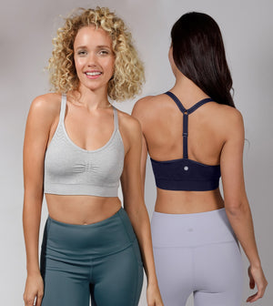 2 Pack Racerback Seamless Bra with Adjustable Strap