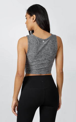 Two Tone Front Cross Crop Top
