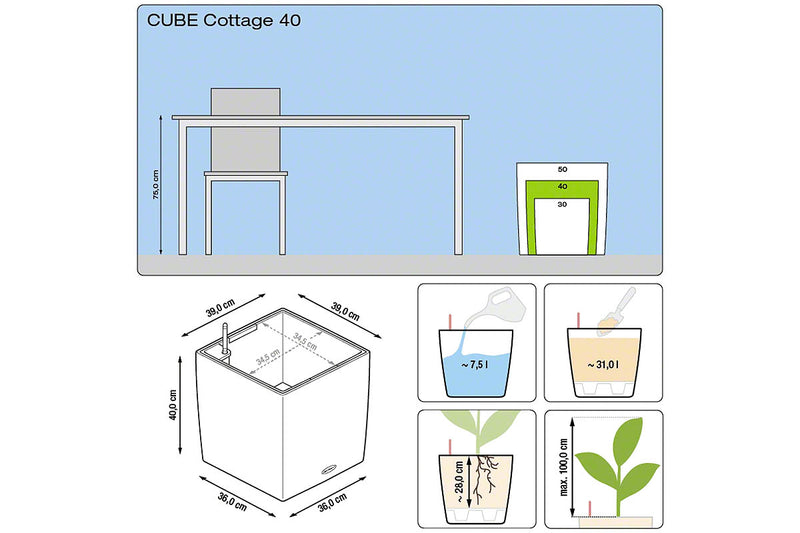 Lechuza Cube Cottage 40 διαστάσεις