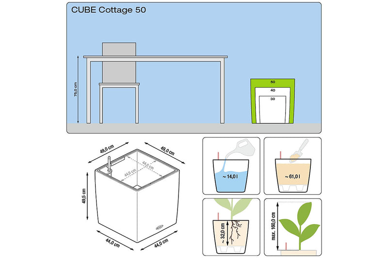 Lechuza Cube Cottage 50 διαστάσεις