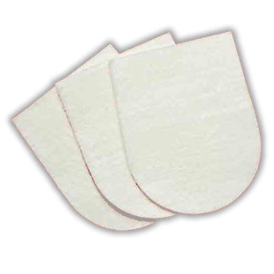 Image of three white gauze pads in the shape of a dog bootie