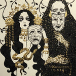 Tragedia/komedia (gold and ink)