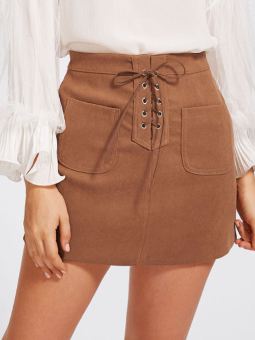 Julia Lace Up Dual Pocket Skirt