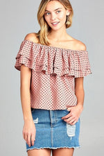 Lauren Double Ruffle Off Shoulder Polka Dot Top