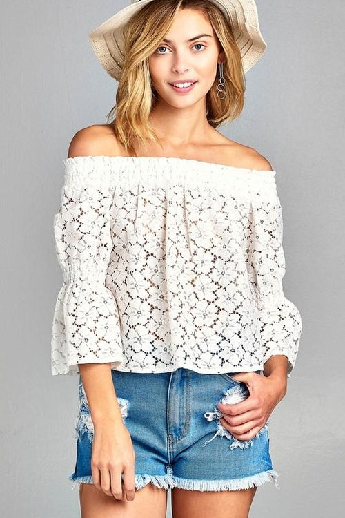 Aurora 3/4 Three Quarter Long Sleeve Off Shoulder