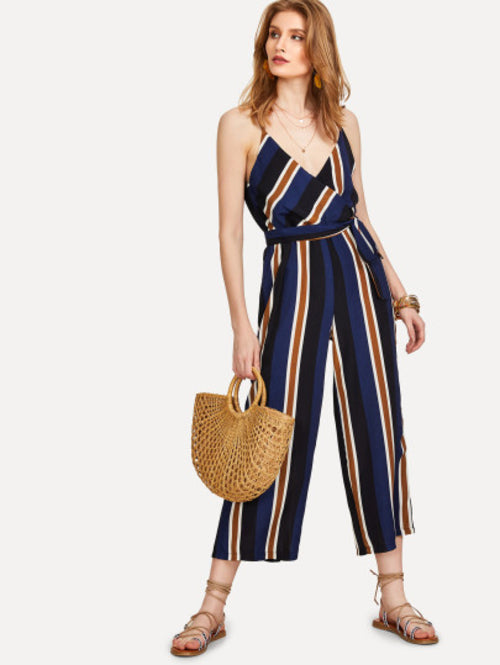 Kourtney V Neckline Tie Side Striped Jumpsuit
