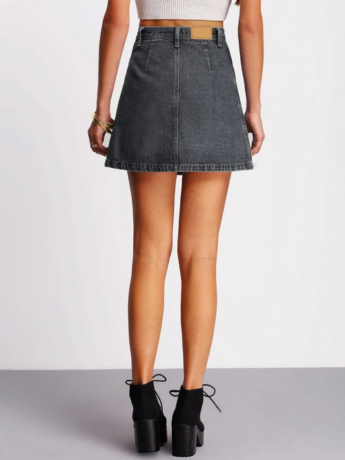 Sophie Button Through Denim Skirt
