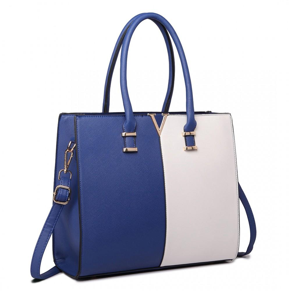 SPLIT FRONT TOTE HANDBAG NAVY/WHITE