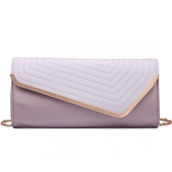 QUILTED ENVELOPE CLUTCH BAG LILAC