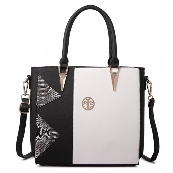 SPLIT FRONT TOTE BAG BLACK/WHITE