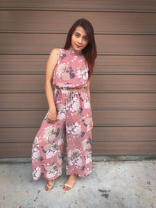 Leslie High Neck Floral Jumpsuit (Pink)