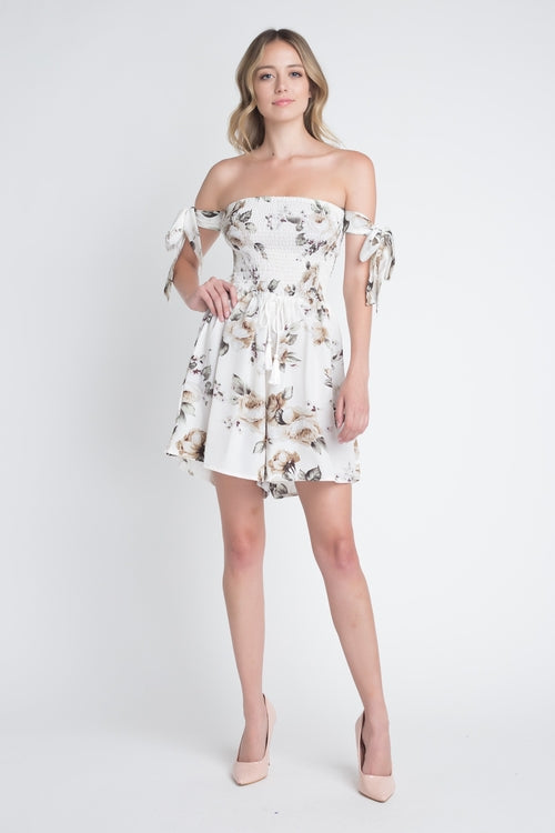Off Shoulder Smocked Floral Tie Romper