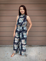 Leslie High Neck Floral Jumpsuit (Navy)