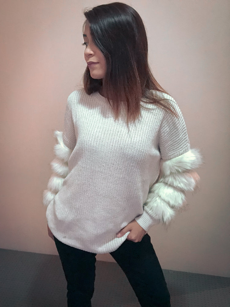 Amanda Knitted Sweater with Fur Trim Sleeves