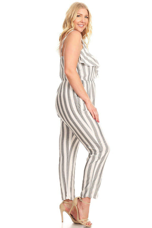 Daphne Striped Ruffle Jumpsuit