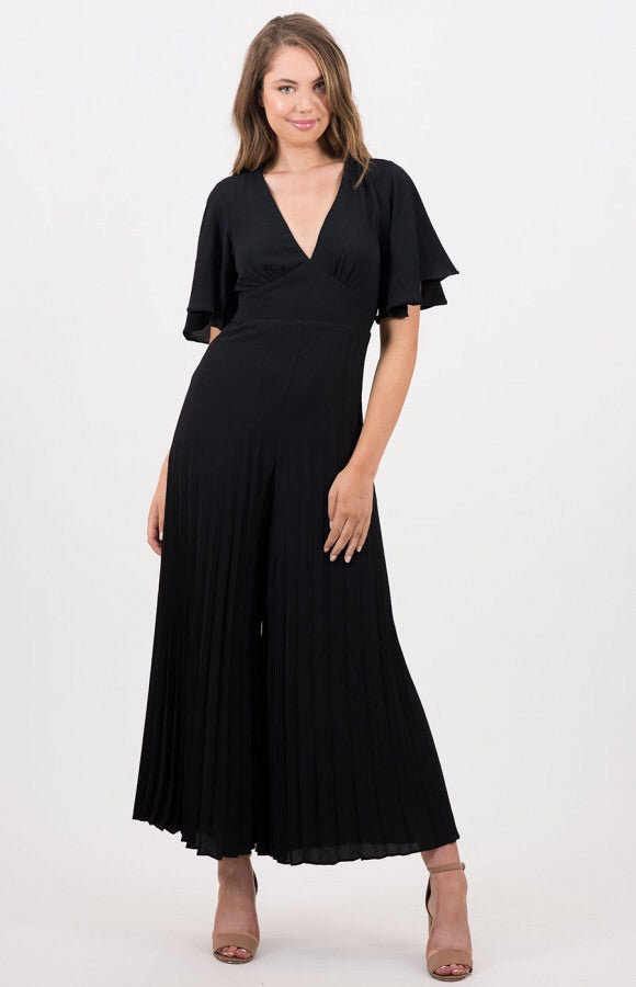 Kayla V-Neck Pleated Jumpsuit