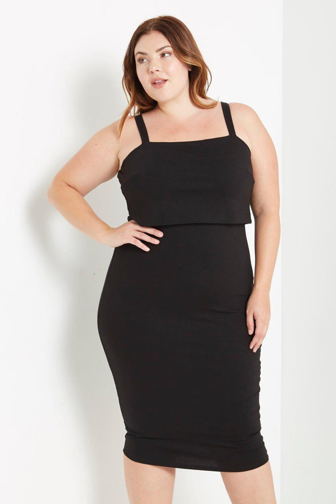 Penelope Overlay Bodycon Dress Black