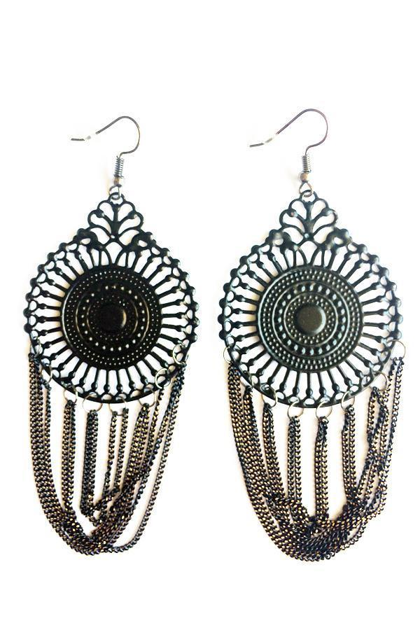 Centre Circle Drop Earrings