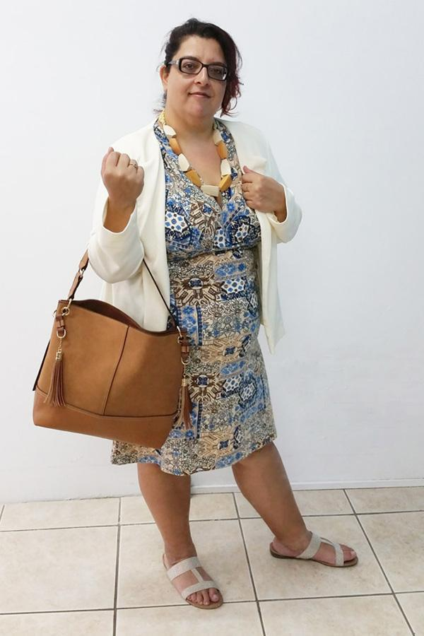 V-Neck Tile Print Jersey Dress