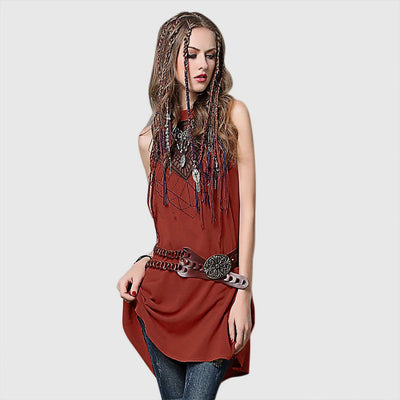 Sleeveless Round Collar Boho Tribal Embroidery Dress
