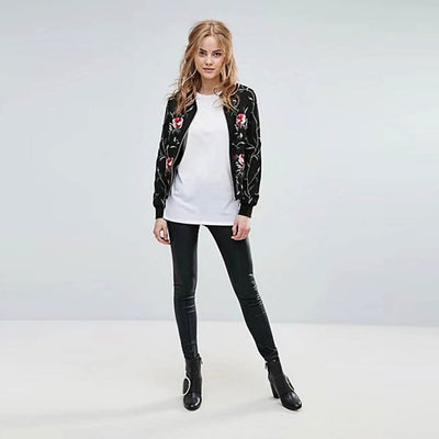 Long Sleeve Round Neck Cool Floral Print Jacket