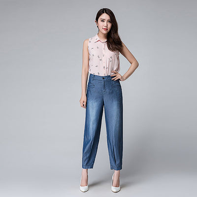 High Rise Pegged Relaxed Plain Jeans