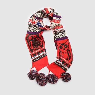 Pom Pom Cute Tribal Print Scarf