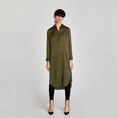 Cuff Sleeve Button Urban Plain Dress