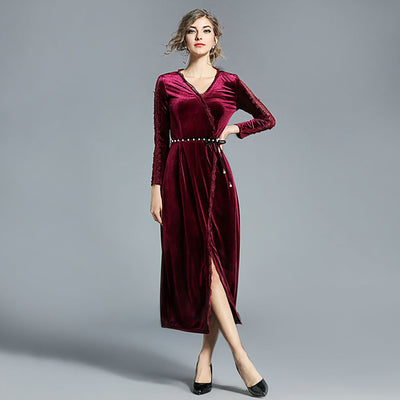 Long Sleeve Lace Elegant Plain Dress