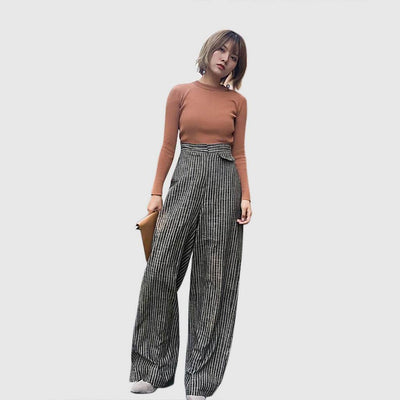 High Waist Pockets Classic Striped Pants