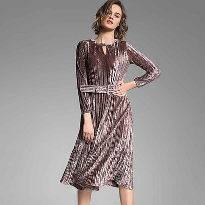 Long Sleeve Belted Party Plain Dress
