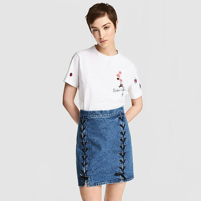 Regular Waist Lace-Up Classic Plain Skirt