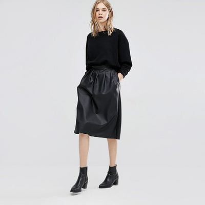 Regular Waist Modern Plain Knee-Length Pleated Skirt