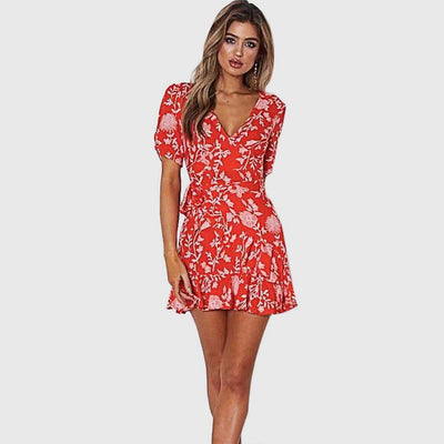 Short Sleeve Ruffle Flirty Floral Print Dress