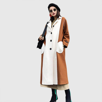 Long Sleeve Pockets Stylish Color Block Coat