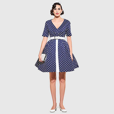 Short Sleeve Belted Retro Polka Dot Dress